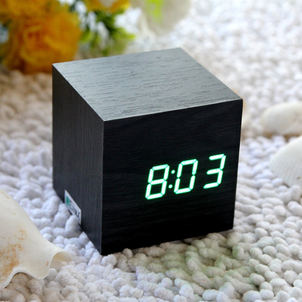 cube mini green led black skin wooden alarm clock go for. Black Bedroom Furniture Sets. Home Design Ideas