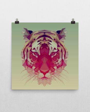 polygonal tiger poster print