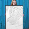 brooklyn minimalist map in black framed 24x36