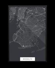brooklyn minimalist map in black framed 24×36